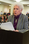 January 3, 2013 - Mineola, New York, U.S. - LEONE BAUM, of Hempstead, NY, speaks against the proposed Republican map at the Nassau County Districting Advisory Commission's night time meeting on two Redistricting maps for the 19 Legislative Districts, one proposed by Republicans, one by Democrats. In the standing room only chambers, dozens shared their views with the commission during the Public Comment segment. After a brief recess, the commission voted at 10:40 PM for each map, neither of which passed. By January 5 it must complete its work for the Nassau Legislature, which must pass a Redistricting map by March 5, 2013.