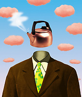 Businessman with water kettle as head