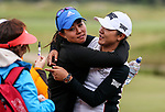 Danielle Kang embraces Lydia Ko. McKayson NZ Women's Golf Open, Round Five, Windross Farm Golf Course, Manukau, Auckland, New Zealand, Monday 2nd October 2017.  Photo: Simon Watts/www.bwmedia.co.nz