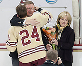 Bill Arnold (BC - 24), Dave Arnold, Kirk Arnold - The visiting University of Notre Dame Fighting Irish defeated the Boston College Eagles 2-1 in overtime on Saturday, March 1, 2014, at Kelley Rink in Conte Forum in Chestnut Hill, Massachusetts.
