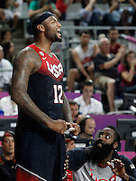 USA's DeMarcus Cousins (l) and James Harden celebrate during 2014 FIBA Basketball World Cup Quarter-Finals match.September 9,2014.(ALTERPHOTOS/Acero)