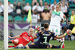 VfL Wolfsburg's Almuth Schult (c) and Babett Peter (r) and Olympique Lyonnais's Pauline Bremer during UEFA Women's Champions League 2015/2016 Final match.May 26,2016. (ALTERPHOTOS/Acero)