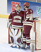 Cory Schneider, Brian Boyle - The Boston College Eagles defeated the Boston University Terriers 5-0 on Saturday, March 25, 2006, in the Northeast Regional Final at the DCU Center in Worcester, MA.