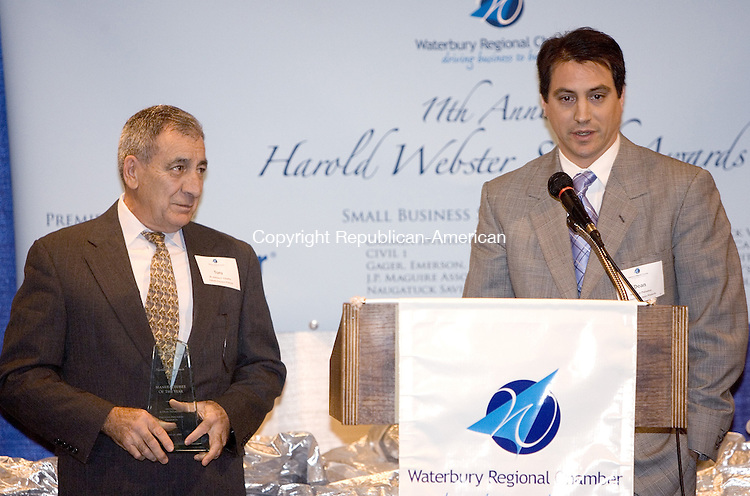 WATERBURY, CT. 24 January 2008-012408SV10--Manufacturer of the Year, Dean and Anthony Palladino of Palladin Precision Products thank the chamber at the Waterbury Regional Chamber&rsquo;s 11th annual Harold Webster Smith Awards held at the Crowne Plaza Hotel in Southbury Thursday.<br /> Steven Valenti Republican-American