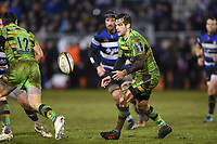 Stephen Myler of Northampton Saints passes the ball. Anglo-Welsh Cup Semi Final, between Bath Rugby and Northampton Saints on March 9, 2018 at the Recreation Ground in Bath, England. Photo by: Patrick Khachfe / Onside Images