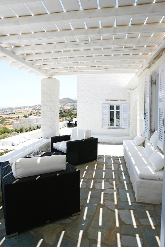 luxury cycladic outdoor living room