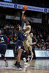 Tyra Whitehead (42) of the Wake Forest Demon Deacons shoots over Kristina Nelson (21) of the Notre Dame Fighting Irish during first half action at the LJVM Coliseum on December 31, 2017 in Winston-Salem, North Carolina.  The Fighting Irish defeated the Demon Deacons 96-73.  (Brian Westerholt/Sports On Film)