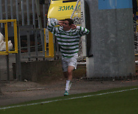 Paul McMullan trying to wind up the Rangers fans after scoring in the Celtic v Rangers City of Glasgow Cup Final match played at Firhill Stadium, Glasgow on 29.4.13,  organised by the Glasgow Football Association and sponsored by City Refrigeration Holdings Ltd.