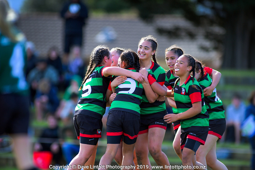 Wainuiomata Intermediate celebrates winning the girls' rugby sevens. Day six of the 2019 AIMS games at Blake Park in Mount Maunganui, New Zealand on Friday, 13 September 2019. Photo: Dave Lintott / lintottphoto.co.nz