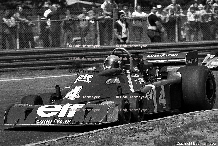 Patrick Depailler drives the Tyrrell P34 six-wheel Formula 1 car during the 1976 Grand Prix of Belgium at Zolder.