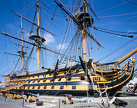 Great Britain, England, Hampshire, Portsmouth: HMS Victory, Admiral Lord Nelson's flagship during the Battle of Trafalgar in 1805 | Grossbritannien, England, Hampshire, Portsmouth: HMS Victory, Admiral Lord Nelsons Flaggschiff waehrend der Schlacht von Trafalgar 1805