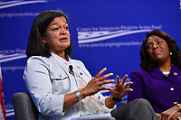 Washington, DC - July 16, 2018: U.S. Representative Pramila Jayapal (D-WA) participates in a pro-voter and anti-corruption congressional discussion moderated by Winnie Stachelberg at the Center for Amercian Progress in Washington, DC.. July 16, 2018.  (Photo by Don Baxter/Media Images International)