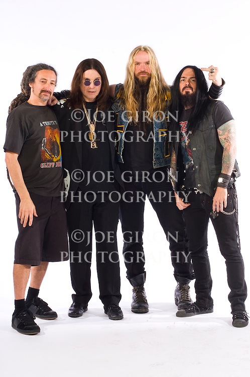 """Portrait session of Ozzy Osbourne's band. The shoot was done to promote Osbourne's new CD, """"Black Rain,"""" which was released 5/22/07."""
