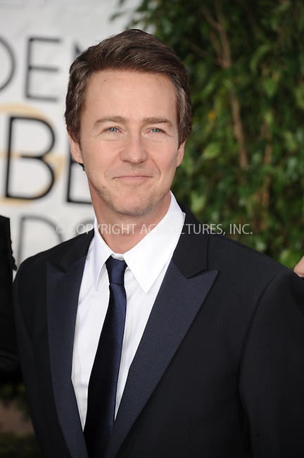 WWW.ACEPIXS.COM<br /> <br /> January 11 2015, LA<br /> <br /> Actor Edward Norton arriving at the 72nd Annual Golden Globe Awards at The Beverly Hilton Hotel on January 11, 2015 in Beverly Hills, California.<br /> <br /> <br /> By Line: Peter West/ACE Pictures<br /> <br /> <br /> ACE Pictures, Inc.<br /> tel: 646 769 0430<br /> Email: info@acepixs.com<br /> www.acepixs.com