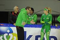SCHAATSEN: HEERENVEEN: IJsstadion Thialf, 08-11-2012, training Thialf, Jac Orie (trainer), Annette Gerritsen, ©foto Martin de Jong