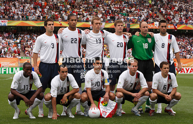 NUREMBERG, GERMANY - JUNE 22:  The United States starting eleven lines up prior to the start of a 2006 FIFA World Cup soccer match against Ghana June 22, 2006 in Nuremberg, Germany.  Back, l-r:  Carlos Bocanegra, Oguchi Onyewu, Jimmy Conrad, Brian McBride, Kasey Keller, Clint Dempsey.  Front, l-r:  DaMarcus Beasley, Landon Donovan, Claudio Reyna, Eddie Lewis, Steve Cherundolo.  (Photograph by Jonathan P. Larsen)