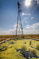 A Water tank for cattle in the Cimarron National Grassland is the only green during a long drought.
