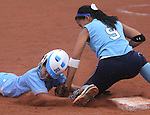 Centennial's Savannah Horvath tags out Reed's Corina Gammon during the NIAA 4A semi-final softball game in Reno, Nev. on Thursday, May 16, 2012. Reed won 5-4..Photo by Cathleen Allison