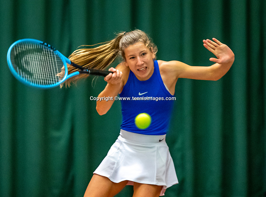Wateringen, The Netherlands, December 8,  2019, De Rhijenhof , NOJK juniors 14 and18 years, Finals girls 14 years Isis van den Broek (NED)<br /> Photo: www.tennisimages.com/Henk Koster