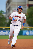 Buffalo Bisons first baseman Jesus Montero (48) running the bases during a game against the Durham Bulls on June 13, 2016 at Coca-Cola Field in Buffalo, New York.  Durham defeated Buffalo 5-0.  (Mike Janes/Four Seam Images)