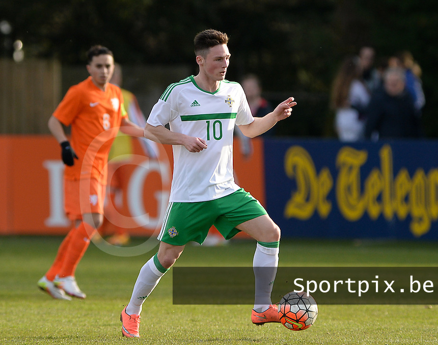 20160326  - Uden , NETHERLANDS : Northern Irish Jordan Thompson pictured during the soccer match between the under 19 teams of The Netherlands and Northern Ireland , on the second matchday in group 4 of the UEFA Under19 Elite rounds in Uden , Netherlands. Saturday 26 th March 2016 . PHOTO DAVID CATRY
