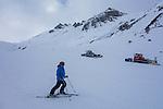 Steissbachtal Trail, slope grooming, St Anton Ski Area, Austria,