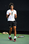 WINSTON SALEM, NC - MAY 22: Skander Mansouri of the Wake Forest Demon Deacons celebrates his victory against the Ohio State Buckeyes during the Division I Men's Tennis Championship held at the Wake Forest Tennis Center on the Wake Forest University campus on May 22, 2018 in Winston Salem, North Carolina. (Photo by Jamie Schwaberow/NCAA Photos via Getty Images)