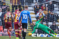 Rouven Sattelmaier of Bradford City saves the penalty of Ian Henderson of Rochdale during the Sky Bet League 1 match between Bradford City and Rochdale at the Northern Commercial Stadium, Bradford, England on 9 December 2017. Photo by Thomas Gadd.