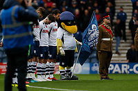 9th November 2019; Deepdale Stadium, Preston, Lancashire, England; Championship Football, Preston North End versus Huddersfield Town; Preston North End players and mascot observe a minutes silence before the game, ahead of tomorrow's Remembrance Sunday ceremonies - Strictly Editorial Use Only. No use with unauthorized audio, video, data, fixture lists, club/league logos or 'live' services. Online in-match use limited to 120 images, no video emulation. No use in betting, games or single club/league/player publications