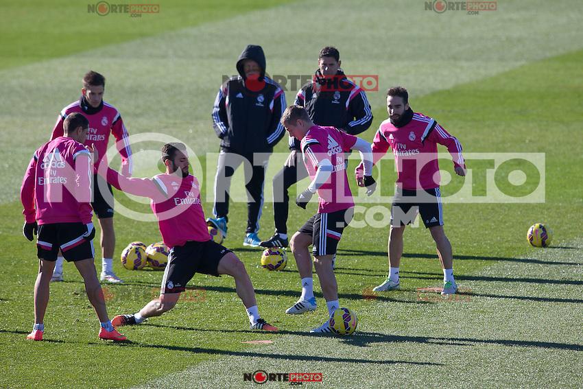 Chicharito, Nacho. Toni Kroos and Carvaja lduring a sesion training at Real Madrid City in Madrid. January 23, 2015. (ALTERPHOTOS/Caro Marin) /NortePhoto<br /> NortePhoto.com