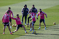 Chicharito, Nacho. Toni Kroos and Carvaja lduring a sesion training at Real Madrid City in Madrid. January 23, 2015. (ALTERPHOTOS/Caro Marin) /NortePhoto<br />