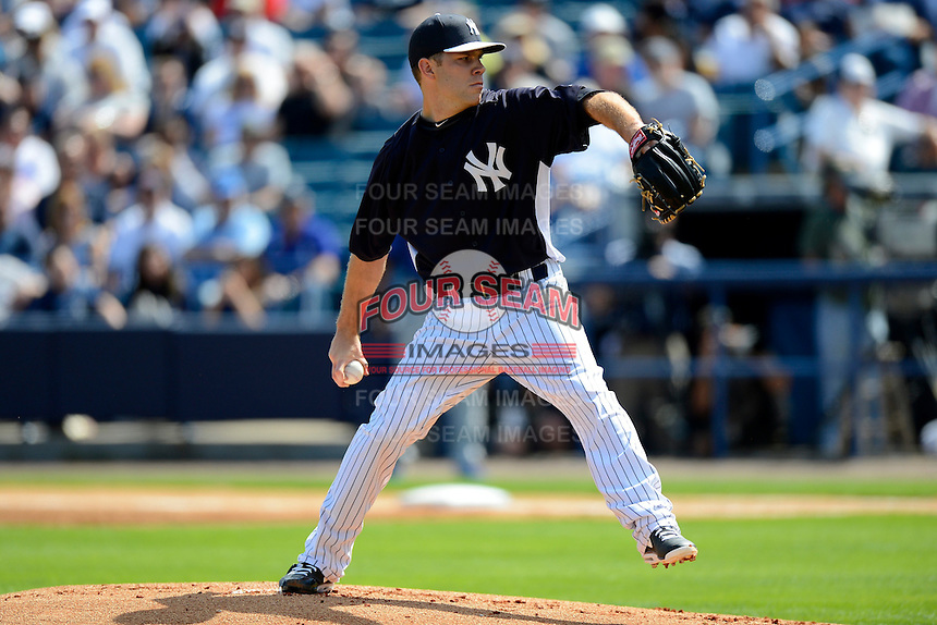 New York Yankees pitcher David Phelps #41 during a Spring Training game against the Toronto Blue Jays at Steinbrenner Field on February 28, 2013 in Tampa, Florida.  Toronto defeated New York 1-0.  (Mike Janes/Four Seam Images)