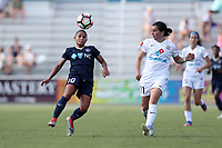 Cary, North Carolina  - Saturday June 03, 2017: Debinha and Christina Gibbons during a regular season National Women's Soccer League (NWSL) match between the North Carolina Courage and the FC Kansas City at Sahlen's Stadium at WakeMed Soccer Park. The Courage won the game 2-0.