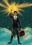 Illustrative image of businessman holding dollar sign representing victory