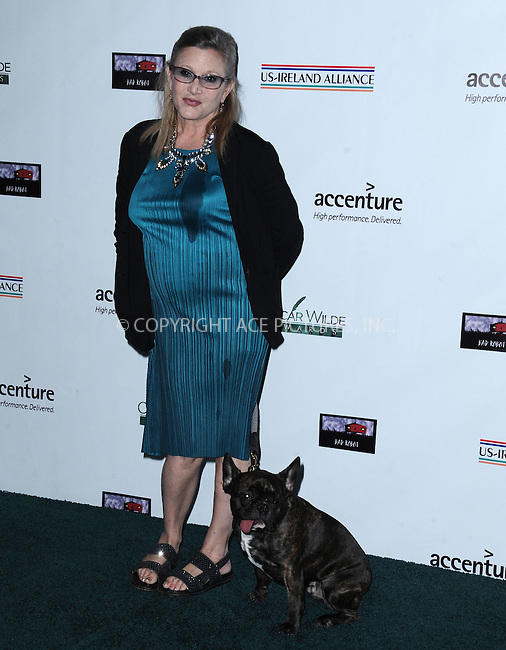 WWW.ACEPIXS.COM<br /> <br /> February 19 2015, LA<br /> <br /> Carrie Fisher arriving at the US-Ireland Alliance Pre-Academy Awards event at Bad Robot on February 19, 2015 in Santa Monica, California. <br /> <br /> <br /> By Line: Peter West/ACE Pictures<br /> <br /> <br /> ACE Pictures, Inc.<br /> tel: 646 769 0430<br /> Email: info@acepixs.com<br /> www.acepixs.com