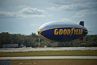 The moored Goodyear Blimp at the New Smyrna Beach Airport's Jack Bolt Field.