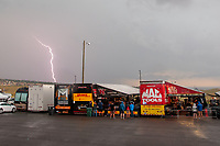 Jul 20, 2019; Morrison, CO, USA; Lightning strikes during a rain delay to NHRA qualifying for the Mile High Nationals at Bandimere Speedway. Mandatory Credit: Mark J. Rebilas-USA TODAY Sports