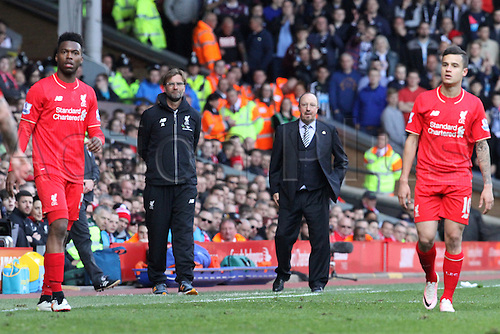 23.04.2016. Anfield Stadium, Liverpool, England. Barclays Premier League. Liverpool versus Newcastle United. Jurgen Klopp, Liverpool manager and Rafa Benitez, manager of Newcastle United look on during a break in play.