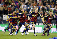 Robbie Findlay and teammates celebrate as.Real Salt Lake  defeats the Los Angles Galaxy 5-4 on penalty kicks to win the 2009 MLS Cup at Qwest Field, Sunday, Nov. 22, 2009.