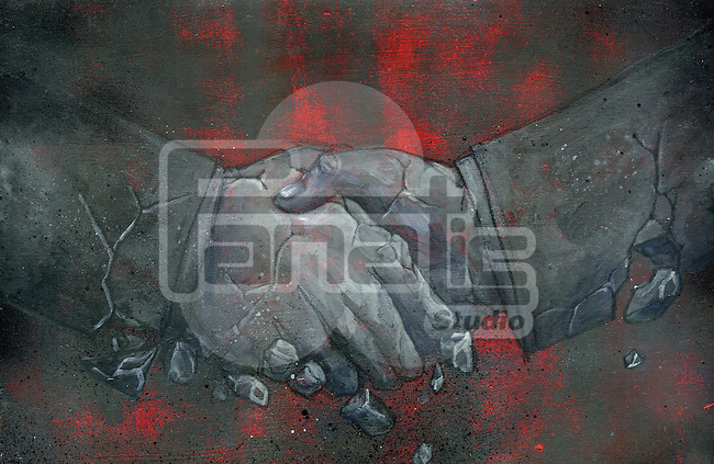 Illustrative image of businessmen shaking hands representing conflict in partnership
