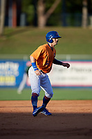 St. Lucie Mets right fielder Quinn Brodey (12) leads off second base during a game against the Daytona Tortugas on August 3, 2018 at First Data Field in Port St. Lucie, Florida.  Daytona defeated St. Lucie 3-2.  (Mike Janes/Four Seam Images)