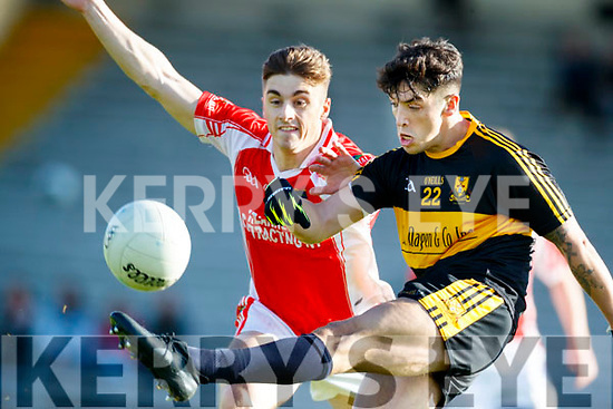 Tony Brosnan  Dr Crokes in action against Cathal Ó Lúing West Kerry in the Kerry Senior Football Championship Semi Final at Fitzgerald Stadium on Saturday.