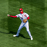 5 April 2018: Washington Nationals infielder Trea Turner makes a first inning play against the New York Mets at Nationals Park in Washington, DC. The Mets defeated the Nationals 8-2 in the first game of their 3-game series. Mandatory Credit: Ed Wolfstein Photo *** RAW (NEF) Image File Available ***