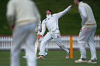 Wellington's Malcolm Nofal bowls on day one of the Plunket Shield cricket match between the Wellington Firebirds and Otago Volts at Basin Reserve in Wellington, New Zealand on Monday, 21 October 2019. Photo: Dave Lintott / lintottphoto.co.nz