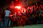 Fans of Hebron's Ahly al-Khalil football club celebrate after beating Hebron's Shabab al-Khalil during Super Cup soccer match, in the West Bank city of Hebron, on Sep. 09, 2016. Photo by Wisam Hashlamoun