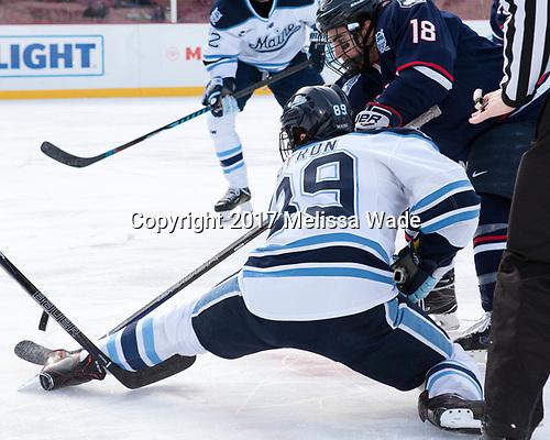 Blaine Byron (Maine - 89), Max Kalter (UConn - 18) - The University of Maine Black Bears defeated the University of Connecticut Huskies 4-0 at Fenway Park on Saturday, January 14, 2017, in Boston, Massachusetts.