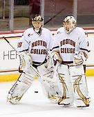 Chris Venti (BC - 30), John Muse (BC - 1) - The Boston College Eagles defeated the Merrimack College Warriors 4-3 on Friday, October 30, 2009, at Conte Forum in Chestnut Hill, Massachusetts.