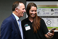 Prime Minister John Key is presented with a rainbow jersey during the UCI Cycling World Cup at the Avantidrome, Cambridge, New Zealand, Friday, December 04, 2015. Credit: Dianne Manson/CyclingNZ/UCI