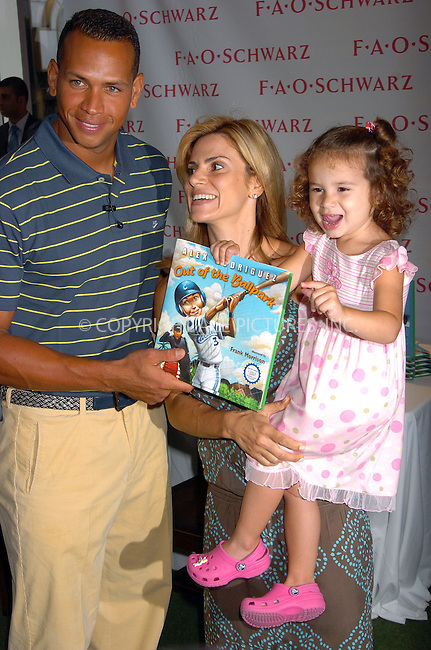 """WWW.ACEPIXS.COM . . . . . ....July 20 2007, New York City....NY Yankee's Baseball player Alex Rodriguez, Cynthia Rodrigez and Daughter Natasha Rodriguez attending a signing of his childrens book """"Out Of The Ballpark"""" at FAO Schwartz in Manhattan ....Please byline: AJ SOKANLNER - ACEPIXS.COM.. . . . . . ..Ace Pictures, Inc:  ..(646) 769 0430..e-mail: info@acepixs.com..web: http://www.acepixs.com"""