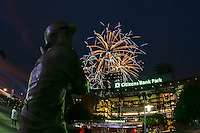 PHILADELPHIA, PA - JULY 2: An exterior view of the front of Citizens Bank Park with a statue of Mike Schmidt during a fireworks display after a game between the Philadelphia Phillies and the Kansas City Royals at Citizens Bank Park on July 2, 2016 in Philadelphia, Pennsylvania. The Royals won 6-2. (Photo by Hunter Martin/Getty Images) *** Local Caption *** Mike Schmidt